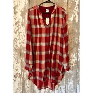 Anthropologie by Akemi + Kin Lucie Plaid Tunic S